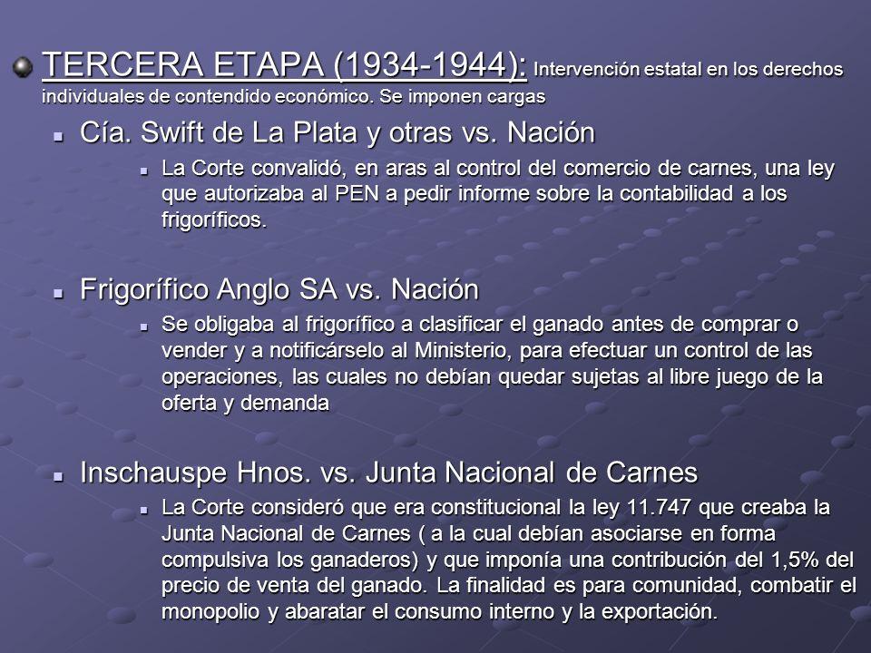TERCERA ETAPA (1934-1944): Intervención estatal en los derechos individuales de contendido económico. Se imponen cargas