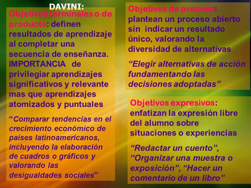 DAVINI:Objetivos de proceso: plantean un proceso abierto sin indicar un resultado único, valorando la diversidad de alternativas.