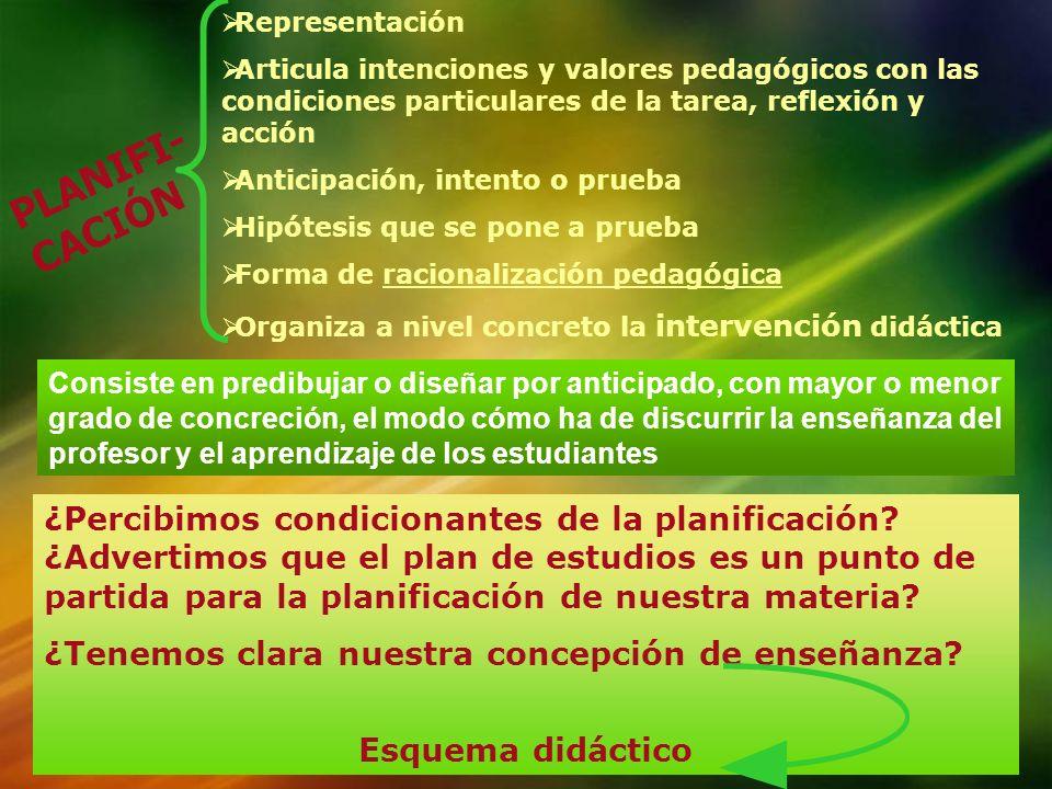 RepresentaciónArticula intenciones y valores pedagógicos con las condiciones particulares de la tarea, reflexión y acción.