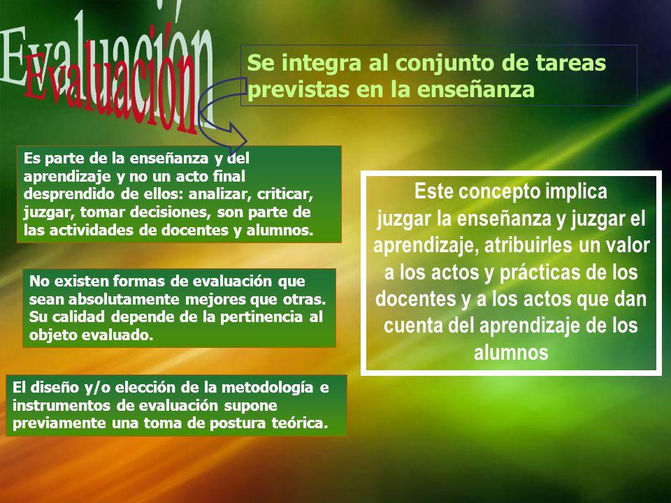 Evaluación Se integra al conjunto de tareas previstas en la enseñanza
