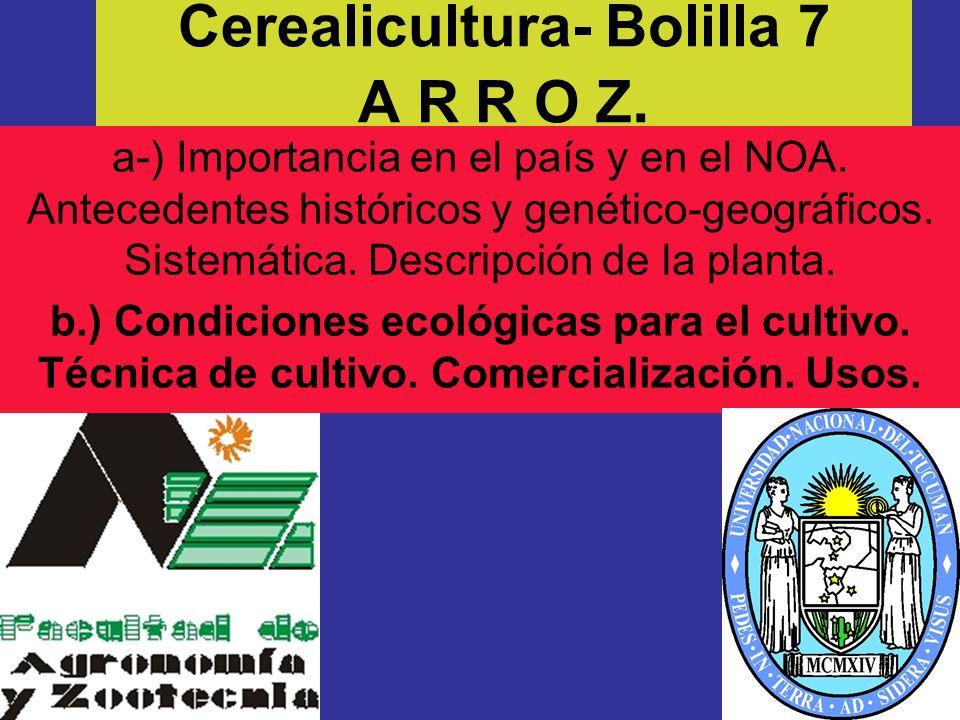 Cerealicultura- Bolilla 7 A R R O Z.