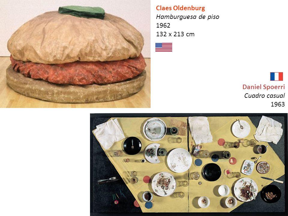 Claes Oldenburg Hamburguesa de piso 1962 132 x 213 cm Daniel Spoerri Cuadro casual 1963
