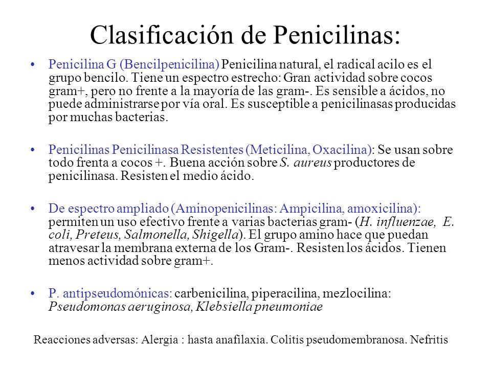 Clasificación de Penicilinas: