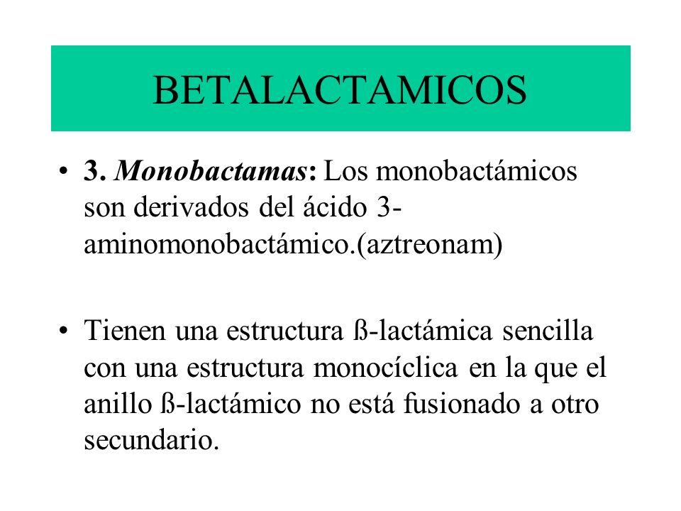 BETALACTAMICOS 3. Monobactamas: Los monobactámicos son derivados del ácido 3- aminomonobactámico.(aztreonam)