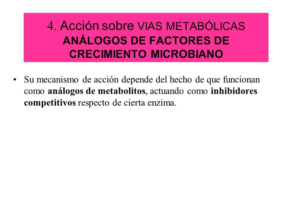 4. Acción sobre VIAS METABÓLICAS ANÁLOGOS DE FACTORES DE CRECIMIENTO MICROBIANO