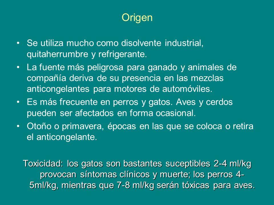Origen Se utiliza mucho como disolvente industrial, quitaherrumbre y refrigerante.
