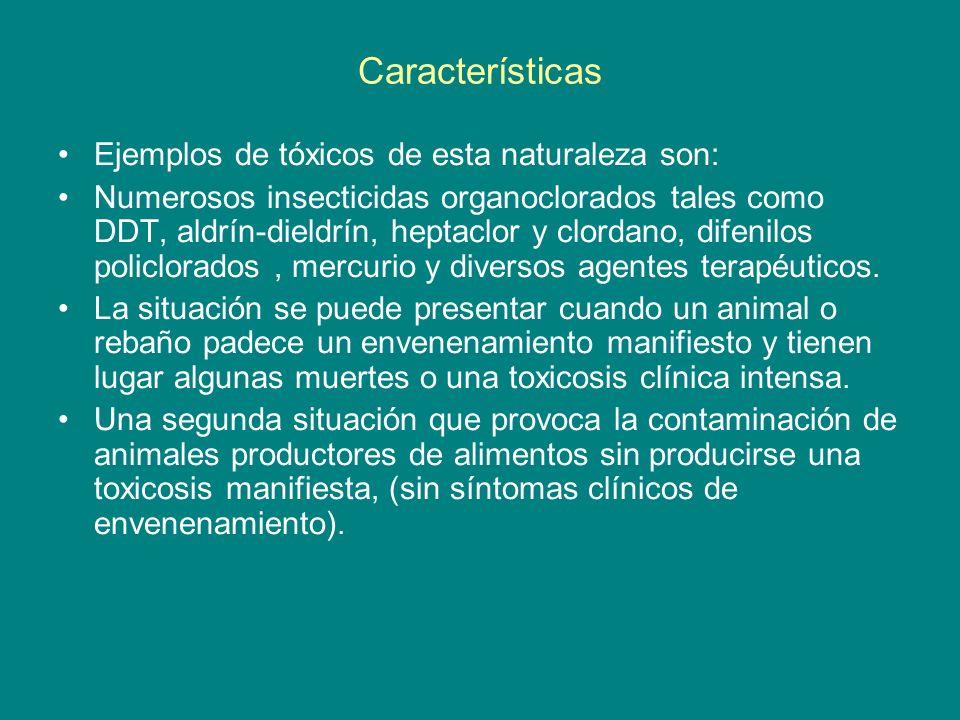 Características Ejemplos de tóxicos de esta naturaleza son: