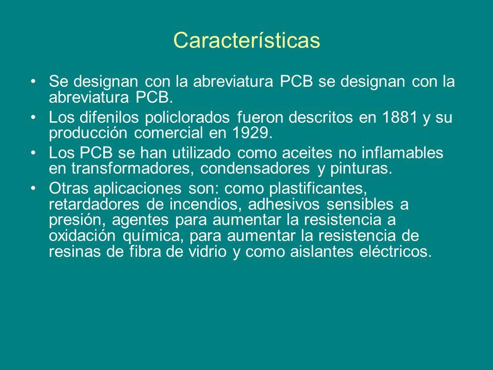 Características Se designan con la abreviatura PCB se designan con la abreviatura PCB.