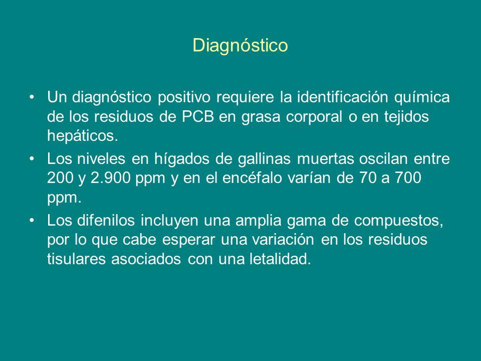 Diagnóstico Un diagnóstico positivo requiere la identificación química de los residuos de PCB en grasa corporal o en tejidos hepáticos.