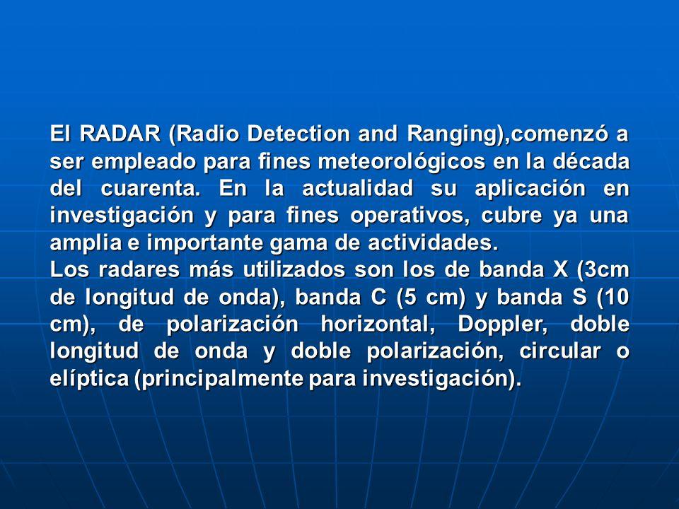 El RADAR (Radio Detection and Ranging),comenzó a ser empleado para fines meteorológicos en la década del cuarenta. En la actualidad su aplicación en investigación y para fines operativos, cubre ya una amplia e importante gama de actividades.