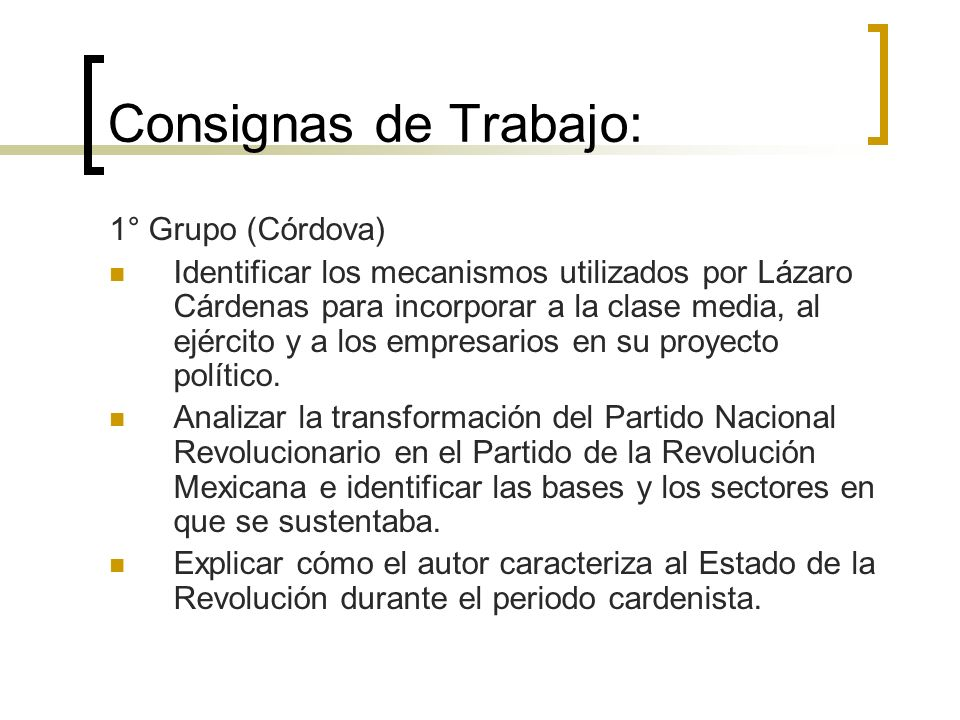 Consignas de Trabajo: 1° Grupo (Córdova)