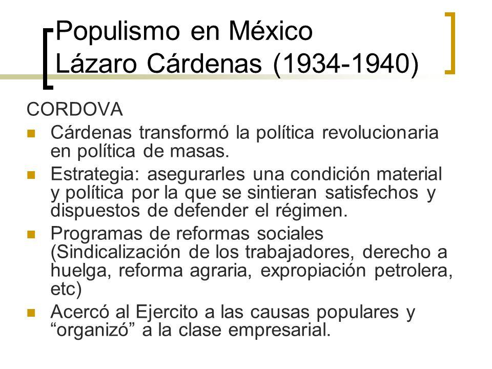 Populismo en México Lázaro Cárdenas (1934-1940)