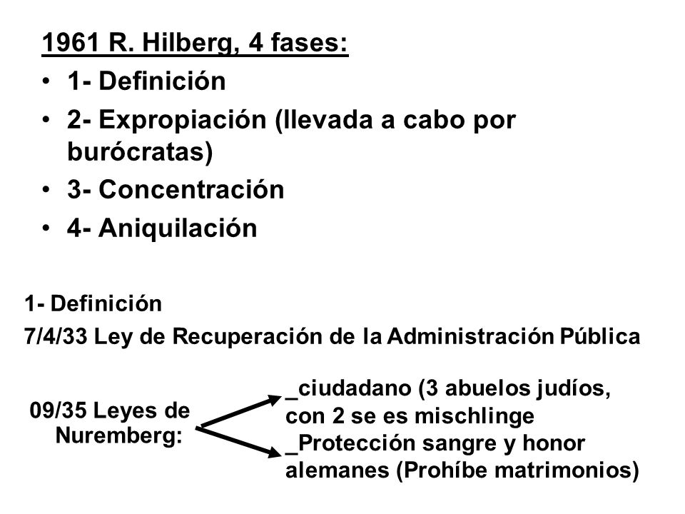 2- Expropiación (llevada a cabo por burócratas) 3- Concentración