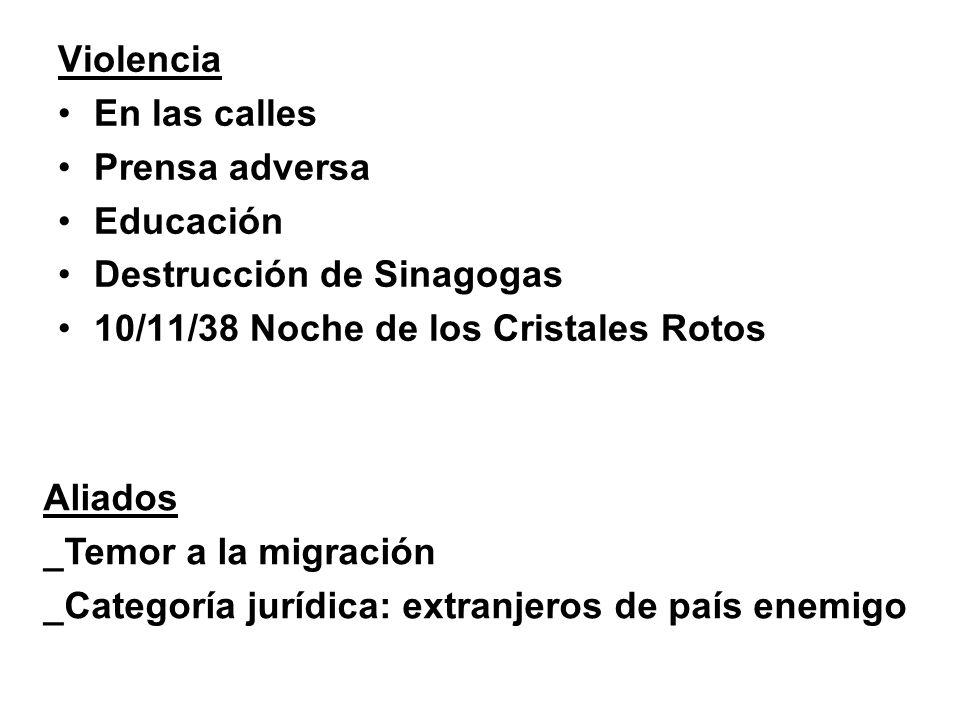 Violencia En las calles. Prensa adversa. Educación. Destrucción de Sinagogas. 10/11/38 Noche de los Cristales Rotos.