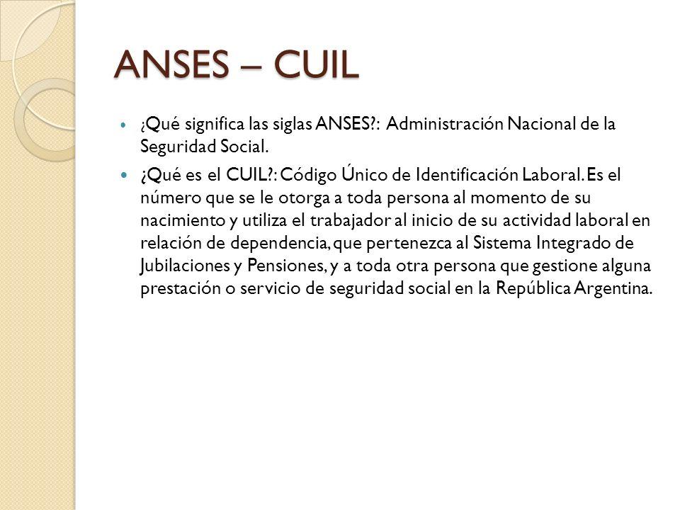 ANSES – CUIL ¿Qué significa las siglas ANSES : Administración Nacional de la Seguridad Social.