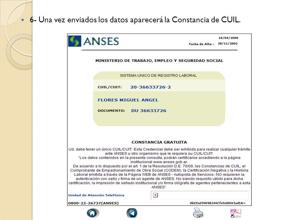 6- Una vez enviados los datos aparecerá la Constancia de CUIL.