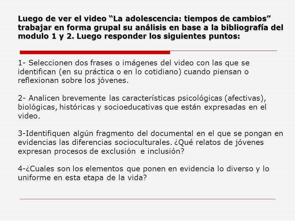 Luego de ver el video La adolescencia: tiempos de cambios trabajar en forma grupal su análisis en base a la bibliografía del modulo 1 y 2. Luego responder los siguientes puntos: