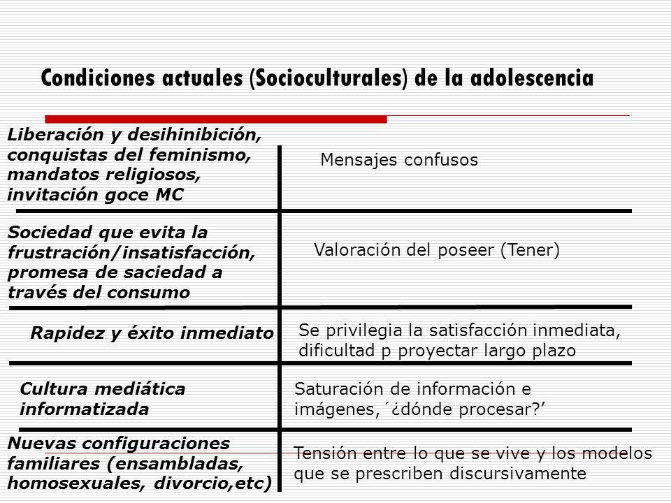 Condiciones actuales (Socioculturales) de la adolescencia