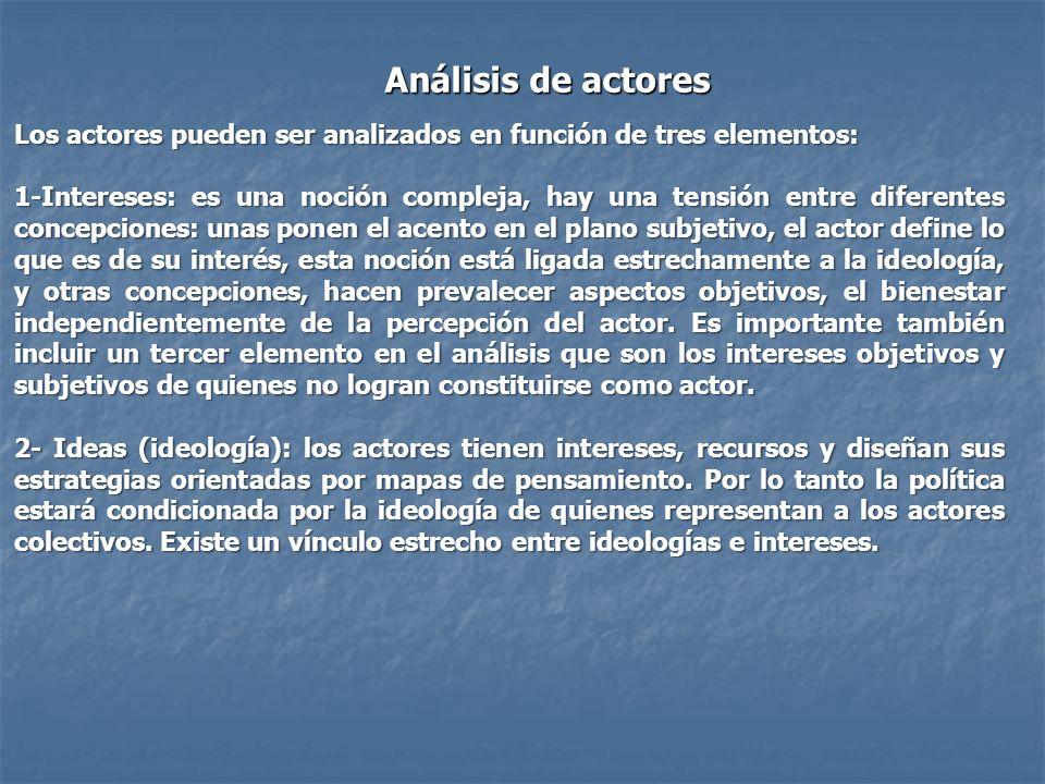 Análisis de actores Los actores pueden ser analizados en función de tres elementos: