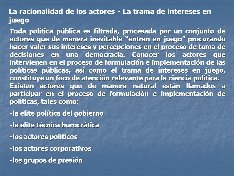 La racionalidad de los actores - La trama de intereses en juego