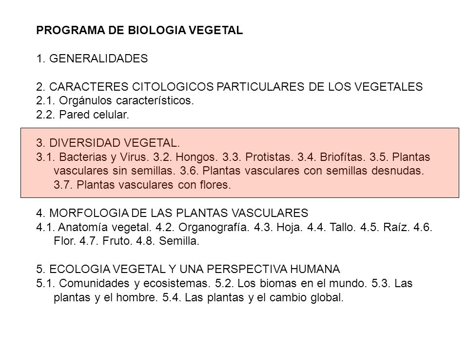 PROGRAMA DE BIOLOGIA VEGETAL