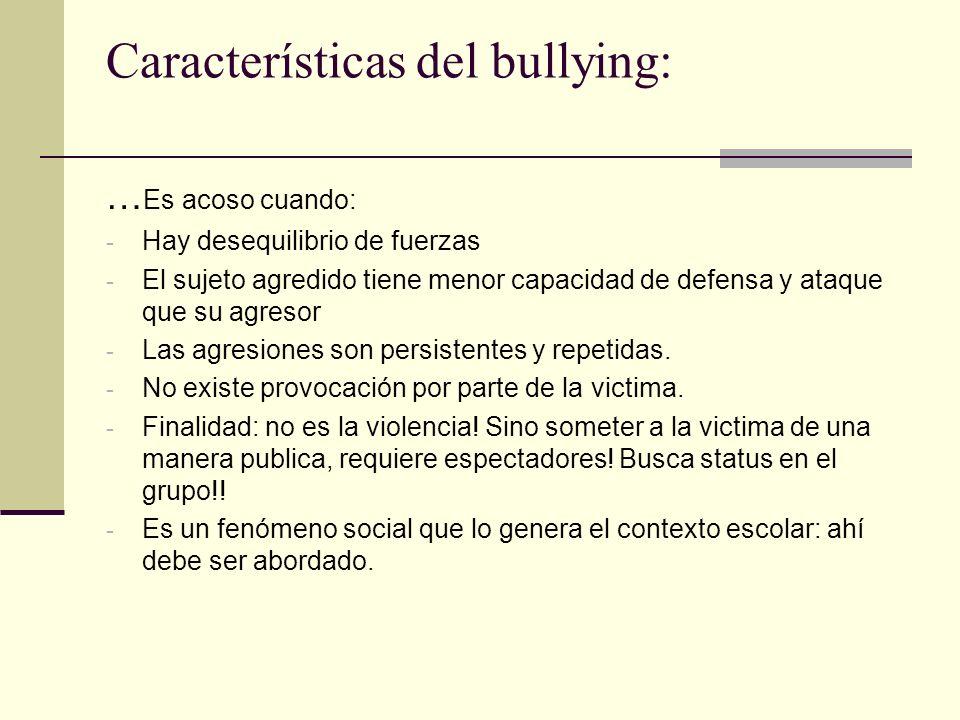 Características del bullying:
