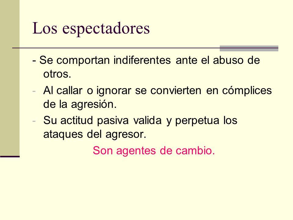 Los espectadores - Se comportan indiferentes ante el abuso de otros.