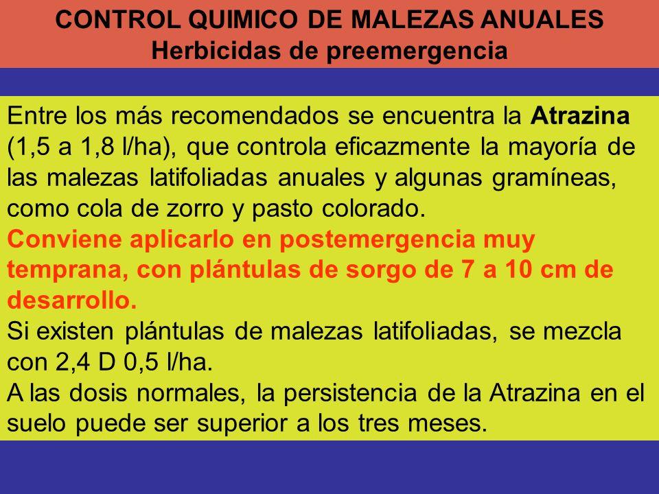 CONTROL QUIMICO DE MALEZAS ANUALES Herbicidas de preemergencia