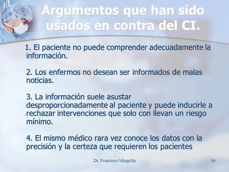 Argumentos que han sido usados en contra del CI.