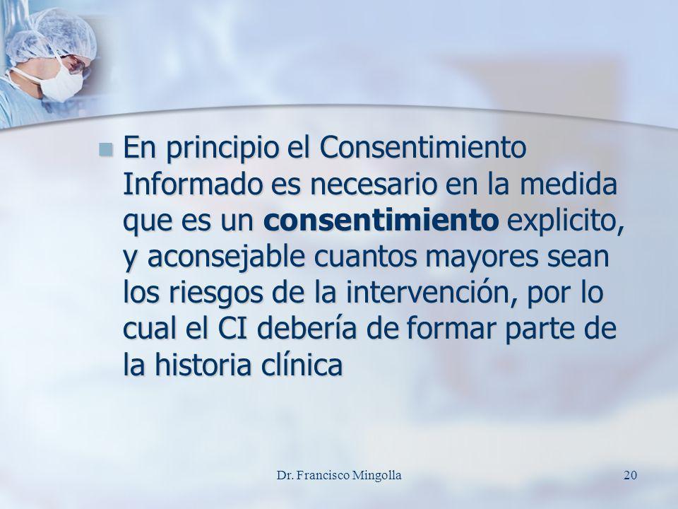 En principio el Consentimiento Informado es necesario en la medida que es un consentimiento explicito, y aconsejable cuantos mayores sean los riesgos de la intervención, por lo cual el CI debería de formar parte de la historia clínica