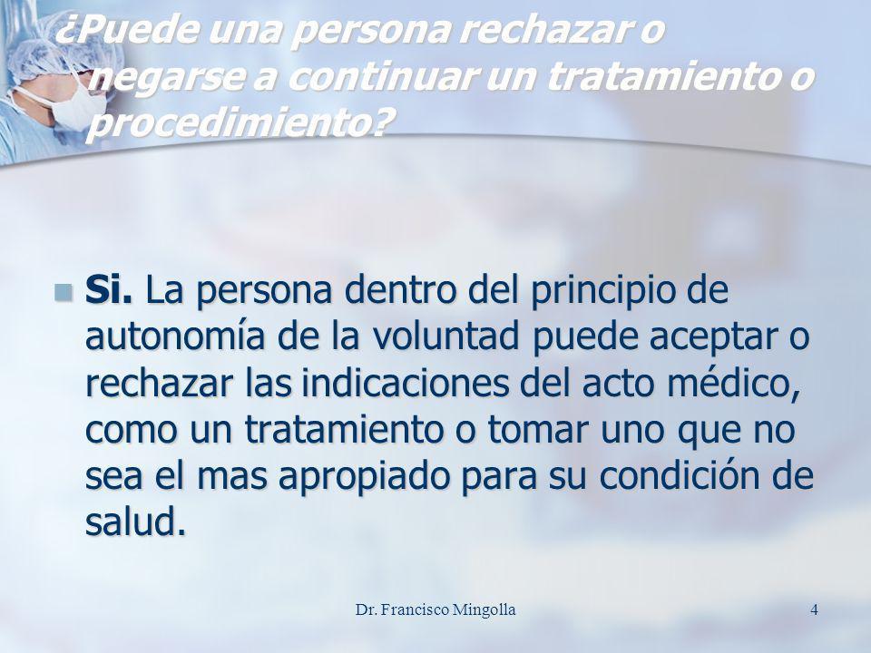¿Puede una persona rechazar o negarse a continuar un tratamiento o procedimiento
