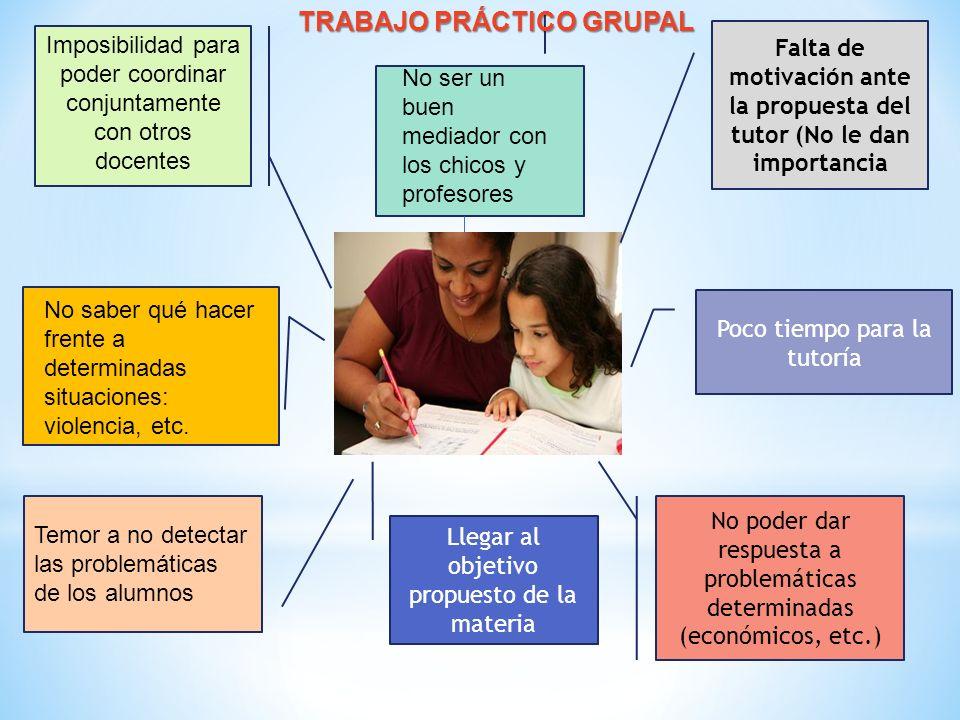 Falta de motivación ante la propuesta del tutor (No le dan importancia