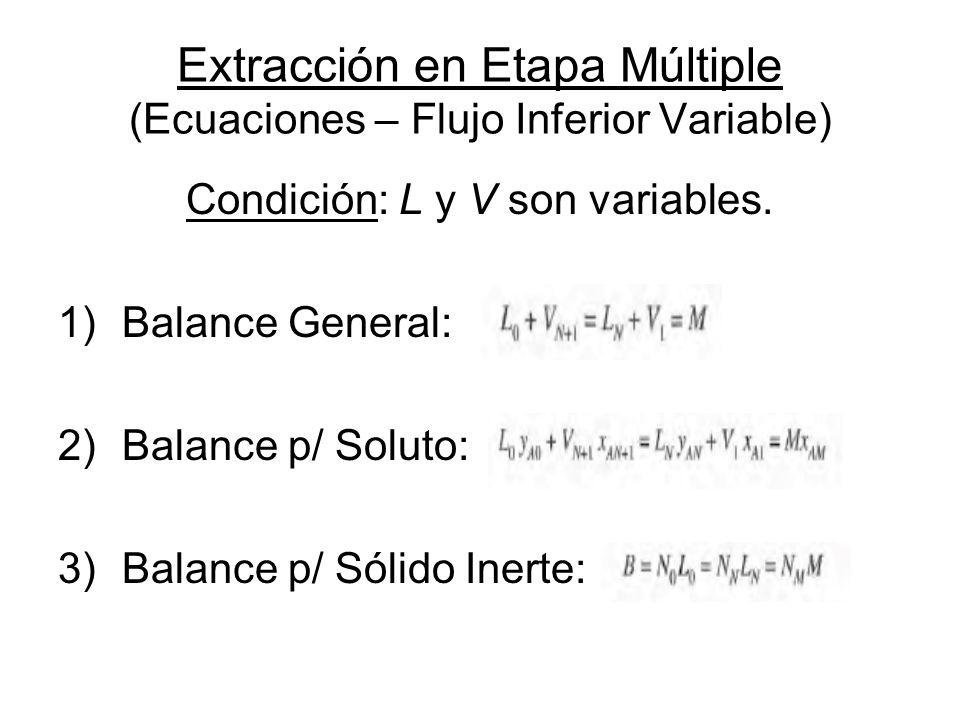 Extracción en Etapa Múltiple (Ecuaciones – Flujo Inferior Variable)