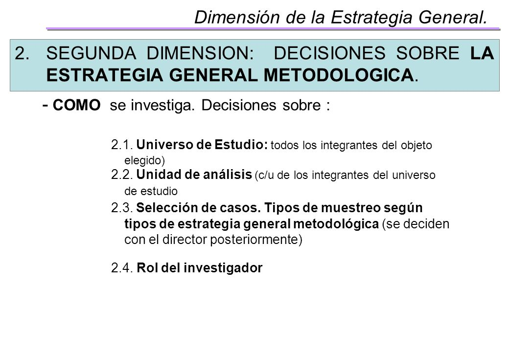 Dimensión de la Estrategia General.