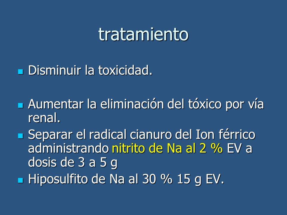 tratamiento Disminuir la toxicidad.