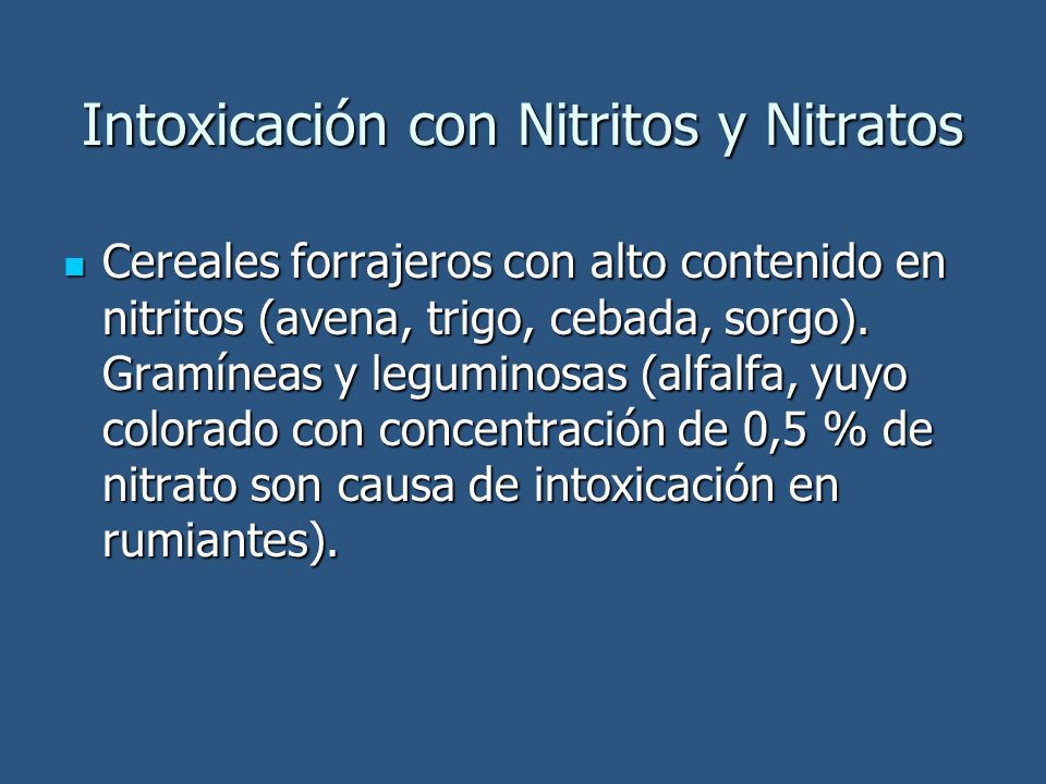Intoxicación con Nitritos y Nitratos