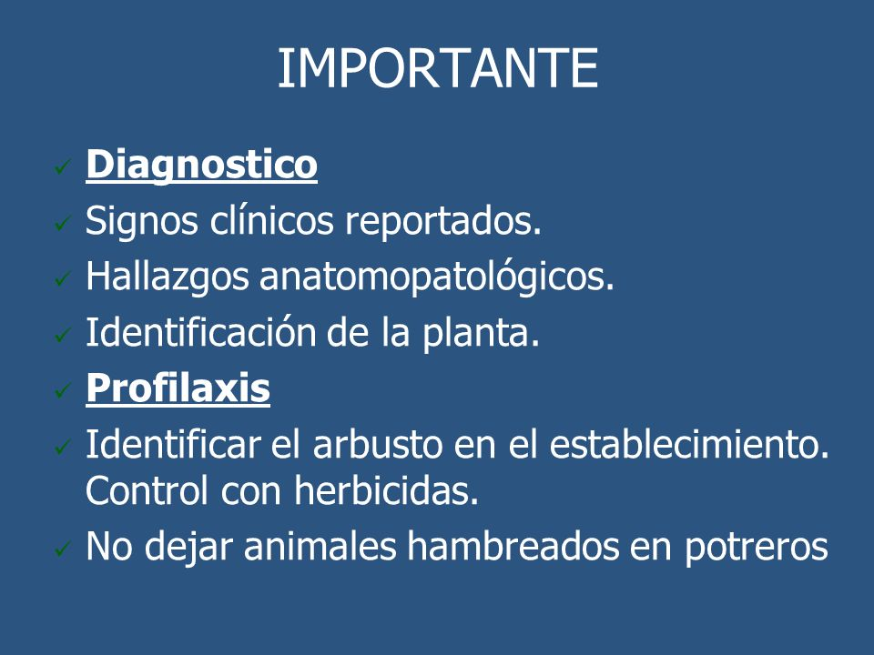 IMPORTANTE Diagnostico Signos clínicos reportados.