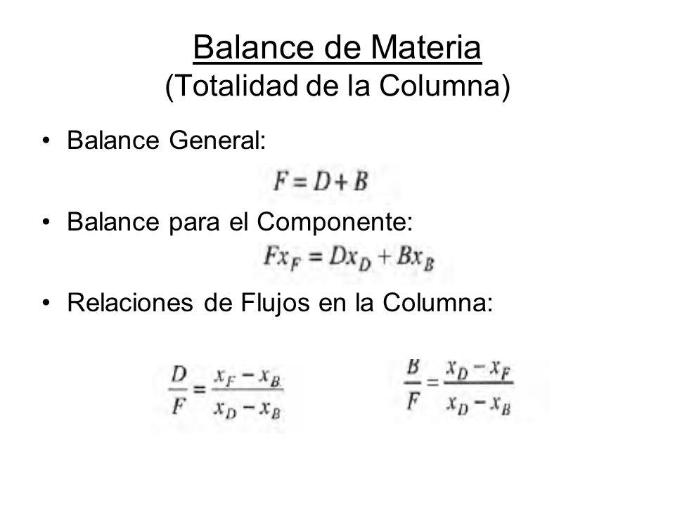 Balance de Materia (Totalidad de la Columna)