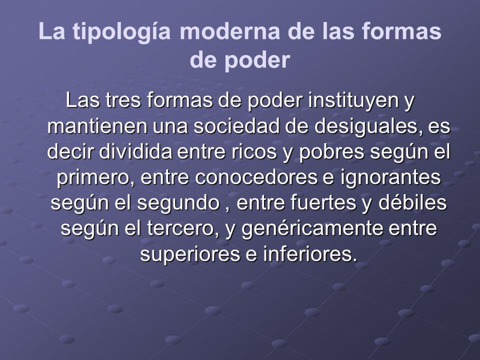 La tipología moderna de las formas de poder