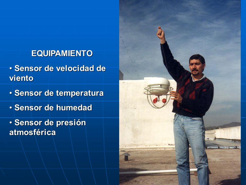 EQUIPAMIENTO Sensor de velocidad de viento. Sensor de temperatura.