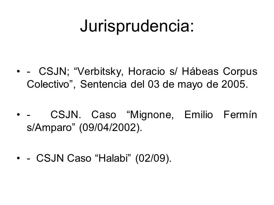 Jurisprudencia: - CSJN; Verbitsky, Horacio s/ Hábeas Corpus Colectivo , Sentencia del 03 de mayo de 2005.