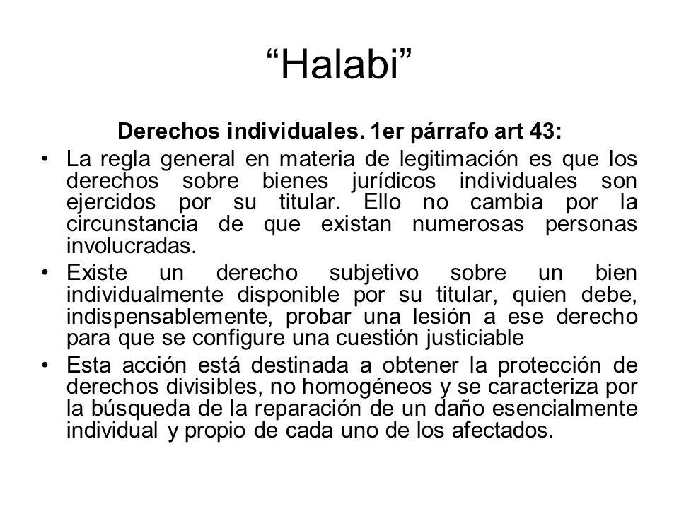 Derechos individuales. 1er párrafo art 43: