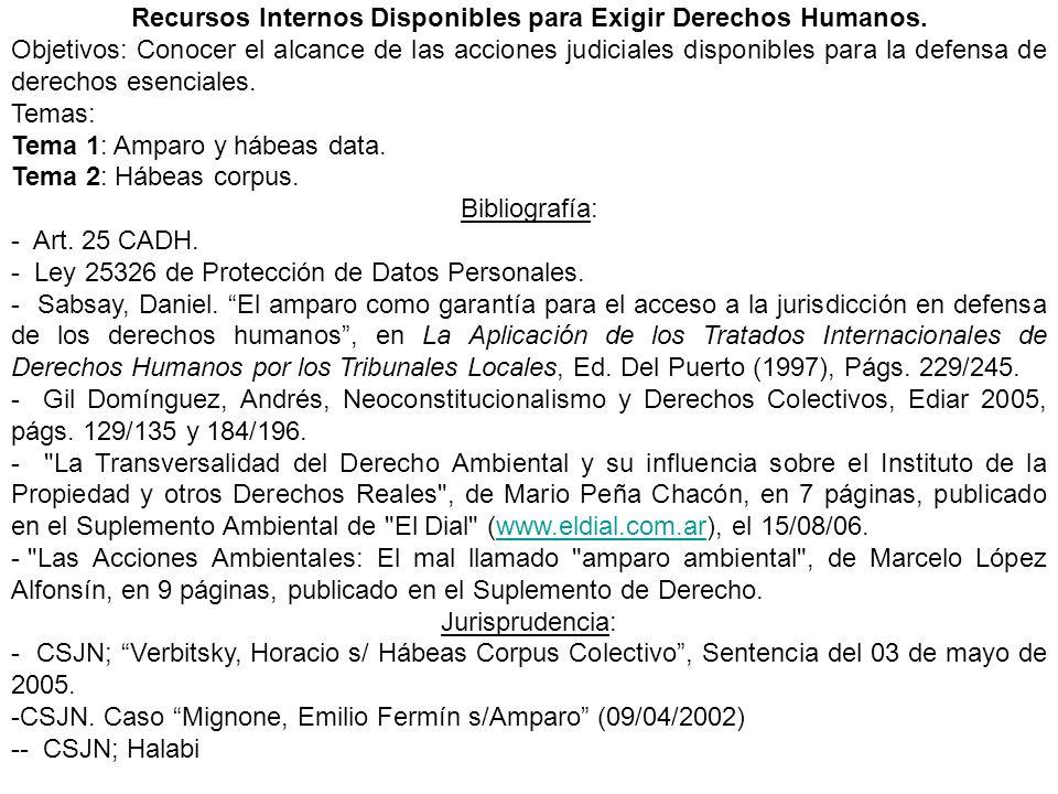 Recursos Internos Disponibles para Exigir Derechos Humanos.