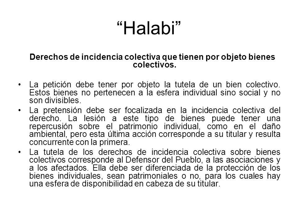 Halabi Derechos de incidencia colectiva que tienen por objeto bienes colectivos.