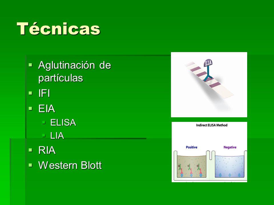 Técnicas Aglutinación de partículas IFI EIA RIA Western Blott ELISA