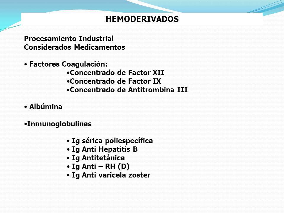 HEMODERIVADOS Procesamiento Industrial Considerados Medicamentos