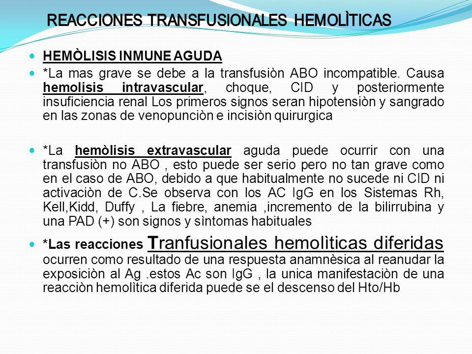 REACCIONES TRANSFUSIONALES HEMOLÌTICAS