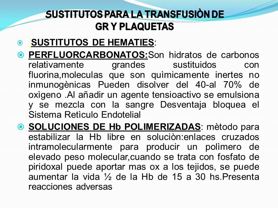SUSTITUTOS PARA LA TRANSFUSIÒN DE