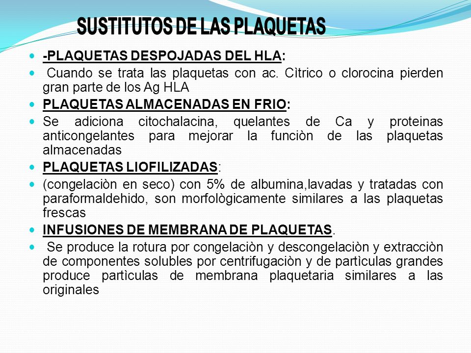 SUSTITUTOS DE LAS PLAQUETAS