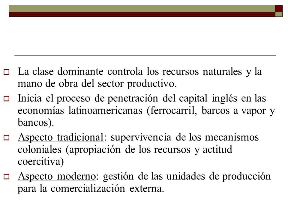 La clase dominante controla los recursos naturales y la mano de obra del sector productivo.